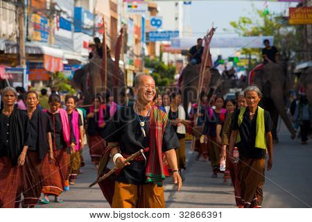 Surin Village Elder Leading Parade Group
