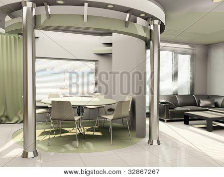 Interior Of Modern  Kitchen With Round Construction