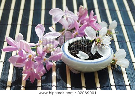 Jar of tea leaves and cherry blossoms with lilac on bamboo table cloth