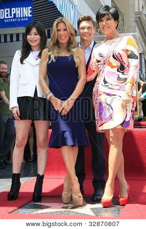 LOS ANGELES - MAY 10: Miranda Cosgrove, Ellen K, Ryan Seacrest, Kris Jenner at a ceremony where Ellen K is honored with the 2471st star on the Hollywood Walk of Fame on May 10, 2012 in Los Angeles, CA