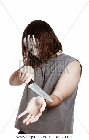 Scary Man With Knife Attempting Suicide