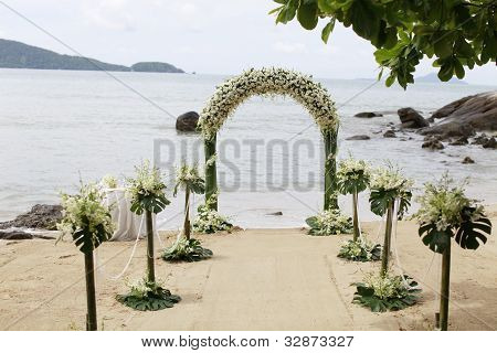 Beautiful beach wedding set-up.