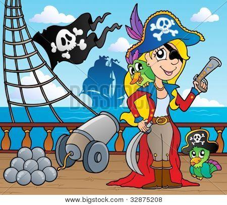 Pirate ship deck theme 9 - vector illustration.