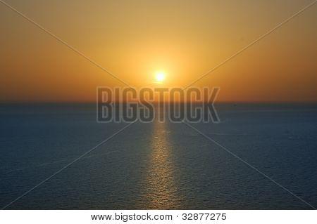 Sunset Sky And Sea Horizon