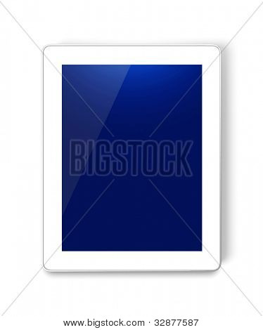 Tablet PC / Touch panel PC with white rim isolated on white. Square to image dimension. Rotate for horizontal use.