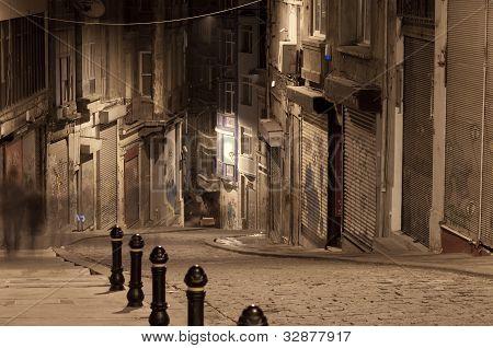Dark street in night, Istanbul, Turkey