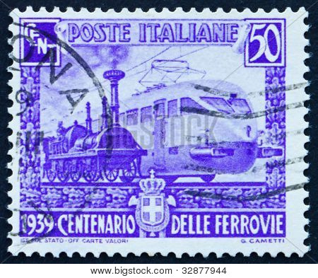Postage stamp Italy 1939 Steam Engine and Electric Engine