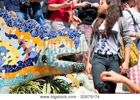 Gaudi's Multicolored Mosaic Dragon Fountain