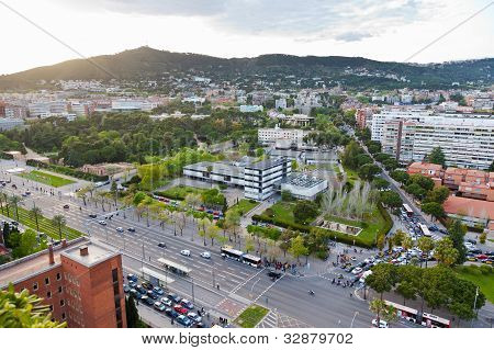 Avenue Diagonal And Garden Of Pedralbes Royal Palace In Barcelona