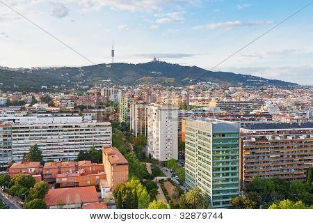 View On Barcelona And Tibidabo Mountain