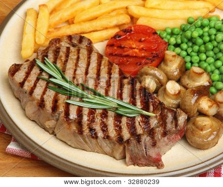 Sirloin beef steak dinner. Shallow DoF, focus on steak.