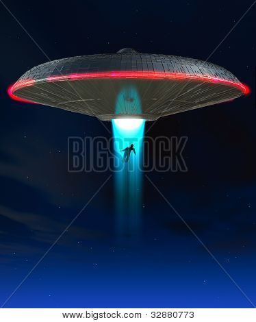 A Ufo That Is Abducting A Human