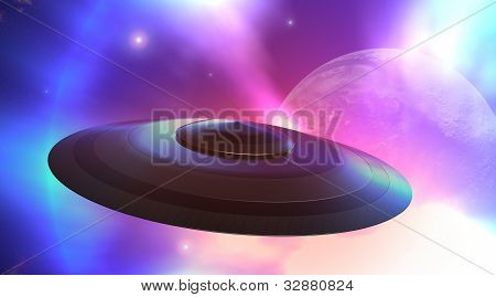 Flying Saucer Flying In Space