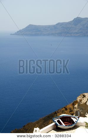 Old Fishing Boat Greek Island View Of Caldera Santorini