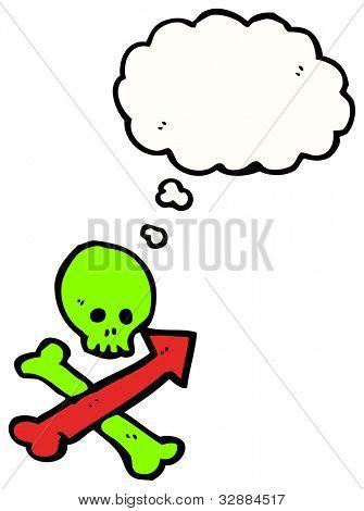 cartoon pointing skull and crossbones sign