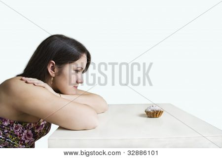 Young Woman And Cake