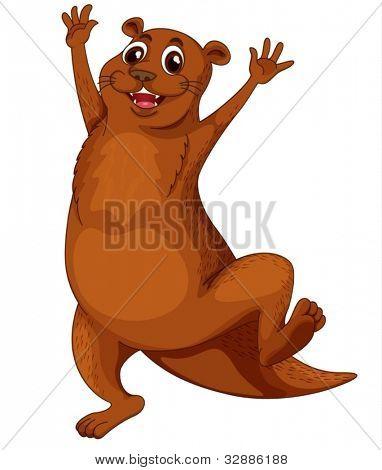 Illustration of a comical otter