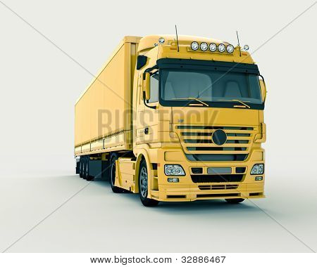 Truck on a light background, with shadows. Front view