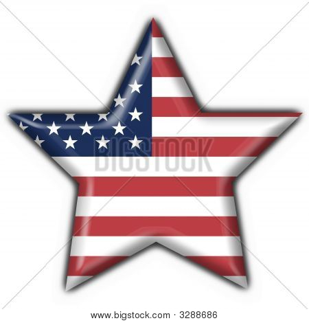 Usa American Button Flag Star Shape
