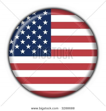 Usa American Button Flag