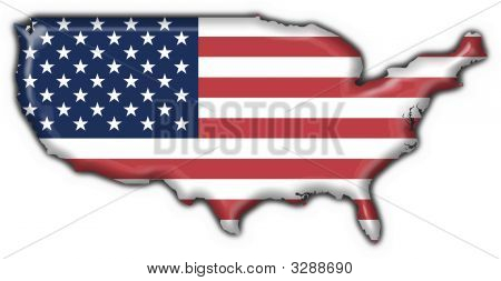 Usa American Button Flag Map Shape