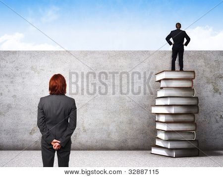 business people and 3d pile with grunge wall