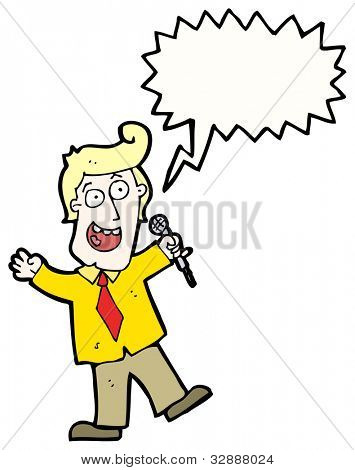 cartoon man with microphone