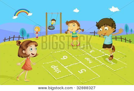 Illustration of kids playing hopscotch - EPS VECTOR format also available in my portfolio.