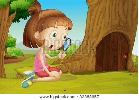 Cute girl with magnifying glass - EPS VECTOR format also available in my portfolio.