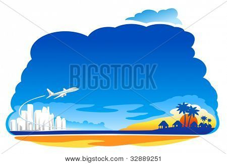 Air Jet flying over the beach illustration
