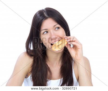 Woman Enjoy Donut