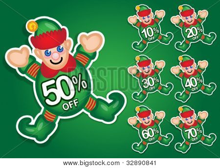 Santa's Elf vector discount stickers