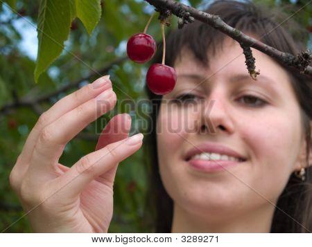 Lady Picks Cherry