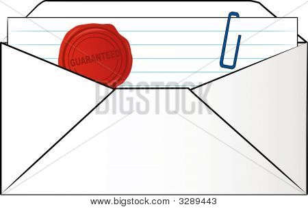 Envelope  W Letter And Paper Clip Guaranteed