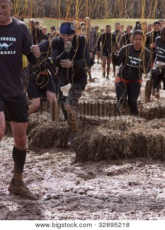 POCONO MANOR, PA - APR 28: A team runs through an obstacle with electrified wires at Tough Mudder on April 28, 2012 in Pocono Manor, Pennsylvania. The course is designed by British Royal troops.