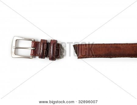 Need for diet. Torn apart belt buckle and belt isolated on white.