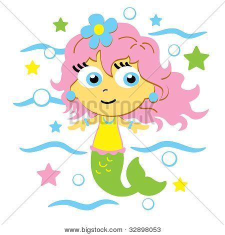 Vector Cute Mermaid