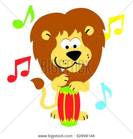 Vector Lion on Bongos  Cartoon