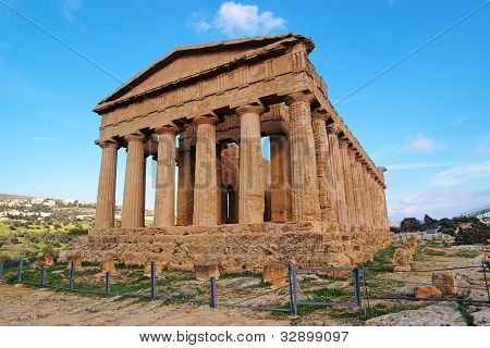 Concordia temple in Agrigento Sicily Italy