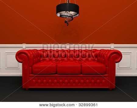 Red Leather Sofa With Chandelier In Original Interior