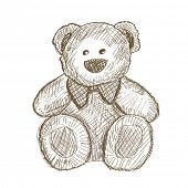 foto of teddy-bear  - Hand drawn teddy bear isolated on white - JPG