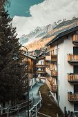 Cityscape And Landscape Scenery View Of Zermatt City, Switzerland. Beautiful Urban Architecture And  poster