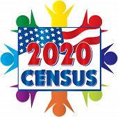 2020 Census United States Of America Banner Art Diversity poster