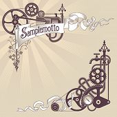 picture of steampunk  - Banner and corner frame design made from steam engine parts - JPG