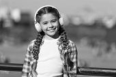 Music For The Pure Pleasure. Small Child Using Technology For Leisure Or Music Education. Small Kid  poster