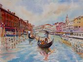 Travel Venice Canal With Tourist On Gondola. Painting Landmark Italy With Historic View Italy. Water poster
