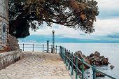 Stone Path Along The Shore In Opatija, Croatia, Europe. No People. Holiday Travel Destinations Aroun poster