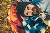 Hiker Ready For Adventures. Brutal Manly Guy. Hiker Tourist. Nature Background. Happy Bearded Man Hi poster