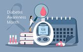 Diabetes Awareness Month On November In Usa. American National Health Care Event. poster