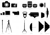 Vector set of abstract silhouettes with camera and photographic accessories